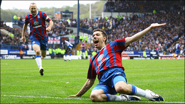 Darren Ambrose celebrates his crucial goal for Crystal Palace against Sheffield United last season