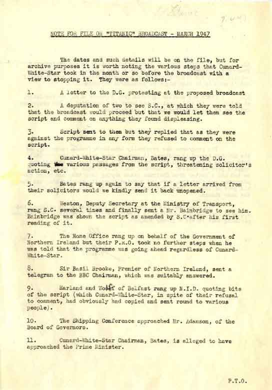 Page one of a document summarising the controversy over a play about the Titanic.