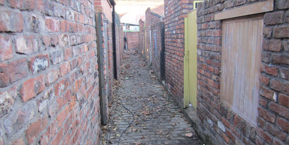 Alleyway on Coronation Street set