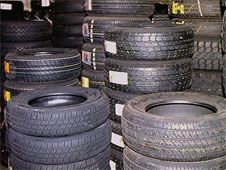 Tyres being stored in a warehouse