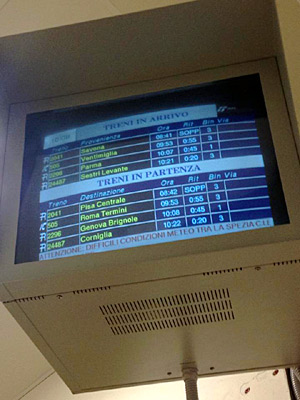 The arrival/departure board