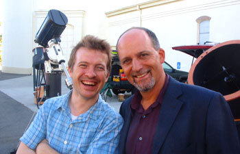 Chris Riley (l) and astronomer Geoff Marcy at the Lick Observatory