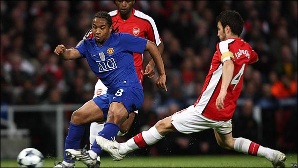 Anderson in action against Arsenal