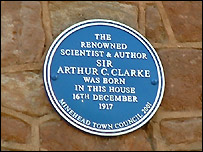 Plaque commemorating Arthur C Clarke's birthplace