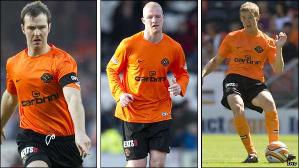 From left: Dundee United defenders Andy Webster, Garry Kenneth and Paul Dixon