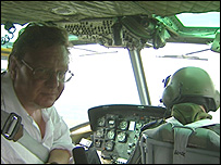 Mark Mardell in helicopter