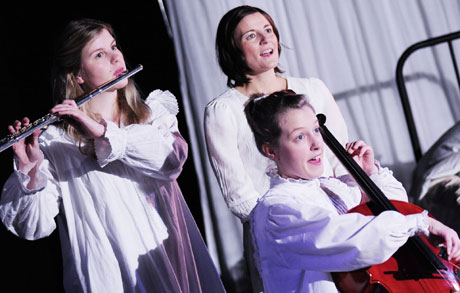 Elin Phillips, Clare Hingott and Cari Barley in Snow Child. Image courtesy of Sherman Cymru.