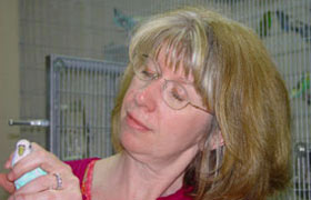 Donna Holmes with long-lived Budgie