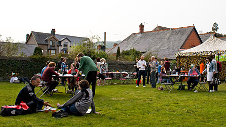 Photograph of people at the Machynlleth Comedy Festival