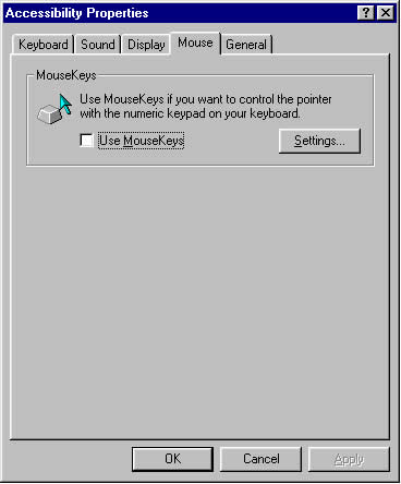 Accessibility Properties Dialog Box