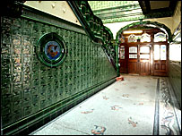 Green tiling in entrance to Victoria Baths