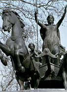 Bronze statue of Boudicca located at Victoria Embankment, London