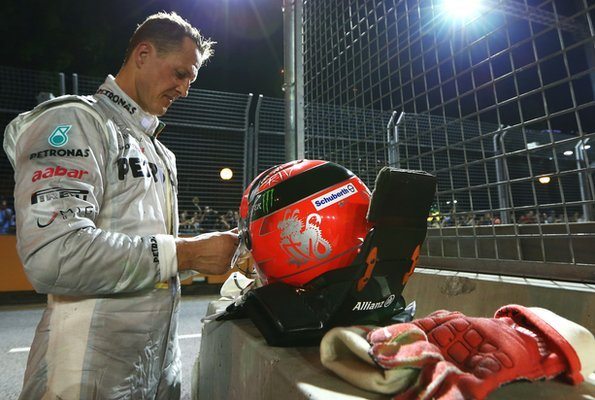 Michael Schumacher after the crash with Jean-Eric Vergne in Singapore