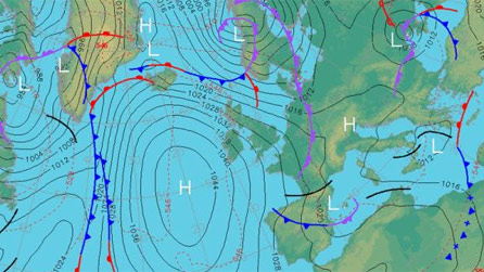 High pressure over the Atlantic means north-westerly winds for the UK so it's going to be milder