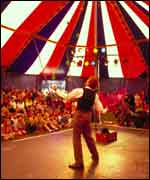 Performer in tent at the Godiva festival