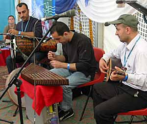 Azad Zahawy, Hussein Zahawy and Caner Sahin in the World on Your Street tent at WOMAD 2003