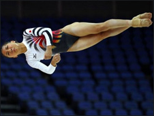 A Japanese gymnast at a training session at the London Olympics