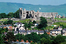 Denbigh town with Denbigh Castle in the background