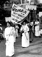 A protest march by women suffragettes in London, 1913