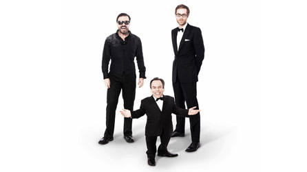 Ricky Gervais, Stephen Merchant and Warwick Davis (front) star in Life's Too Short
