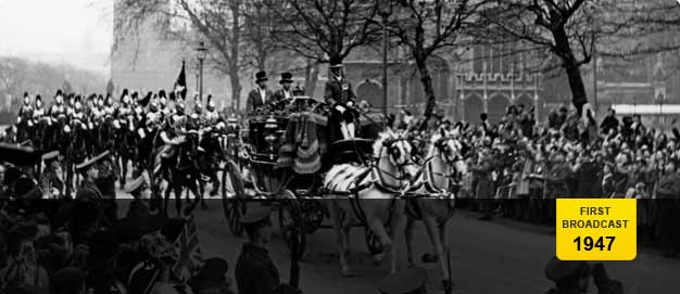 King George VI and Princes Elizabeth arriving in the Irish coach at Westminister Abbey.