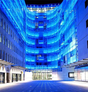 New Broadcasting House seen at night