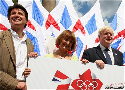 Lord Sebastian Coe, chairman of Locog, Olympic minister Tessa Jowell and London Mayor Brois Johnson