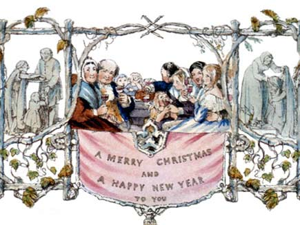 The world's first Christmas card, designed by John Callcott Horsley in London, 1843