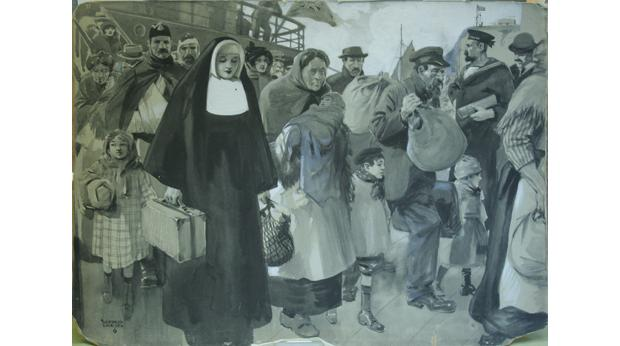 """Sanctuary, or The Ever Open Door"" by Alfred Leete.  An image in muted colours of refugees fleeing the Great War."