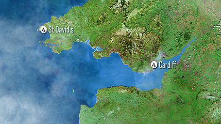 Map showing Cardiff to St. David's
