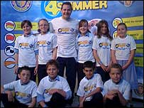 James Hickman with children in Great Yarmouth.