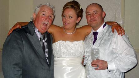 Owen with Emma and Martin on their wedding day