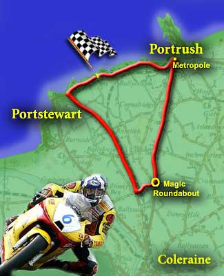 Map of the North West 200 circuit