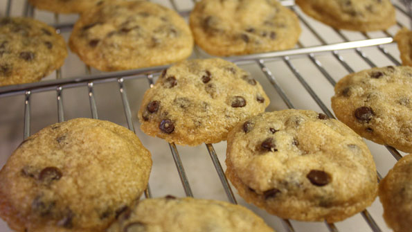 Picture of light brown chocolate chip cookies