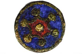 A copper-alloy enamelled disc brooch