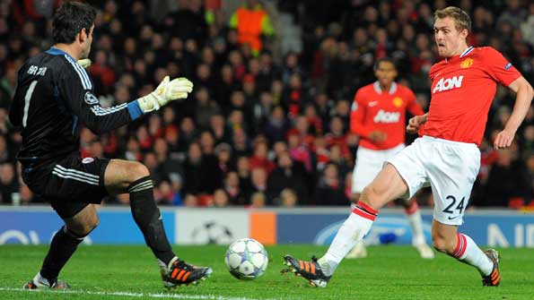 Darren Fletcher scores for Manchester United against Benfica in the Champions League in November