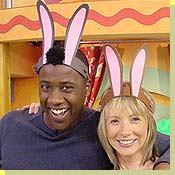 Picture of CBeebies Presenters wearing bunny ears