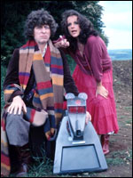 Mary in Dr Who with co-stars Tom Baker and K-9!