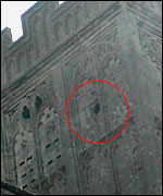 Cannonball hole in St Johns church tower