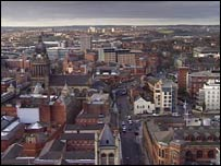 Panoramic view of Leeds city centre
