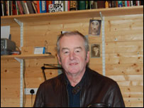 David Almond in the shed where he writes
