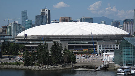 BC Place in Central Vancouver, which is the venue of the Opening and Closing Ceremonies of the 2010 Winter Olympics Games (officially known as the XXI Olympic Winter Games). copyright Arlene Gregorius/BBC