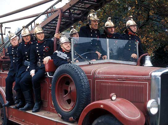 The Dad's Army cast on an ancient fire engine.