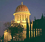 Domed building illuminated at night