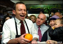Tony Abbott,  Liberal Party leader, at a fruit shop in Melbourne, 20 July 2010