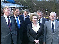 The then Prime Minister Margaret Thatcher visits the scene