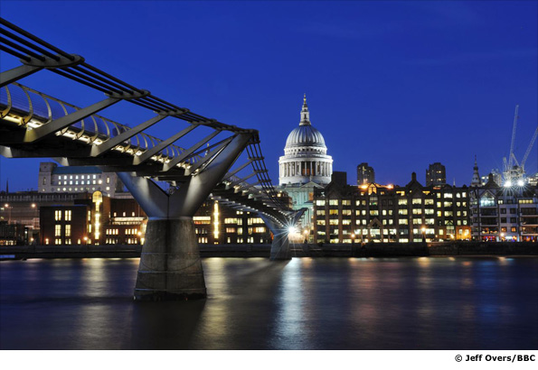 Millennium Bridge and St Paul's Cathedral in London