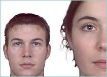 An average male and female face