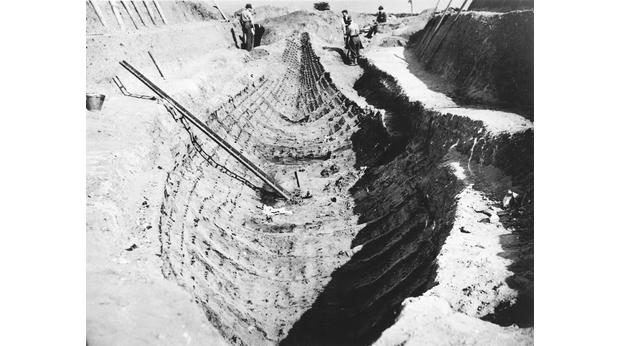 The ship under excavation in the 1930s. Copyright Trustees of the British Museum