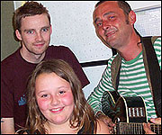 Perry the Busker with his daughter Morgan and Kev